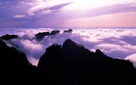 Картинка облака, закат, горы, природа, холмы, вечер, силуэт