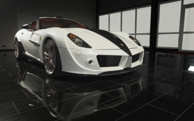 Картинка машина, авто, белый, отражение, плитка, ferrari
