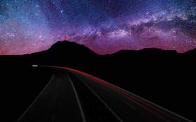 Картинка дорога, горы, ночь, звёзды