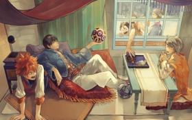 Обои комната, мяч, окно, арт, парни, tobio kageyama, haikyuu!!