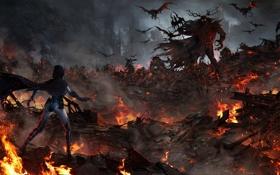 Обои огонь, город, Raven, арт, девушка, монстры, Injustice : Gods Among Us