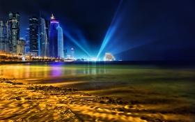 Обои Qatar, город, пляж, ночь, Doha