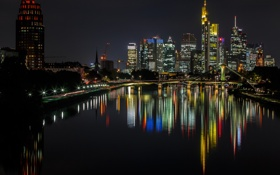 Картинка Франкфурт-на-Майне, небо, дома, ночь, Германия, огни