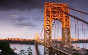 Обои USA, США, bridge, Нью-Джерси, New Jersey, мост Джорджа Вашингтона