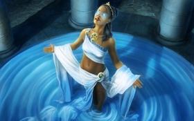 Картинка колонны, арт, девушка, вода, оракул