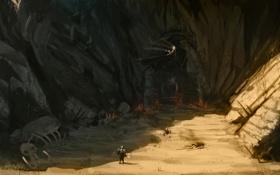 Картинка горы, скалы, дракон, тень, воин, арт, кости