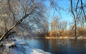 Картинка зима, пейзаж, река