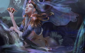 Обои арт, девушка, русалка,  раковина