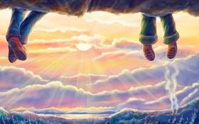Картинка небо, мечта, закат, ножки