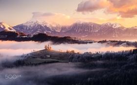Обои зима, горы, утро, Словения