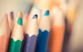 Картинка фиолетовый, синий, зеленый, карандаши