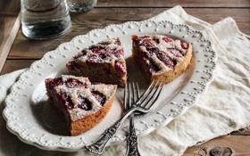 Обои ягоды, клубника, пирог, десерт, выпечка, вилки