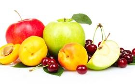 Обои яблоки, фрукты, персики, черешня