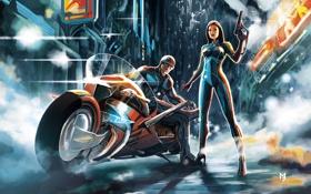Картинка полиция, девушка, ночь, дым, огни, город, мотоцикл