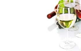 Обои вино, красное, белое, бутылка, бокалы