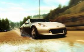 Картинка дорога, брызги, гонка, полиция, погоня, nissan 370z, Need for Speed Undercover