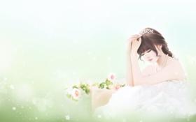 Картинка цветы, девушка, нежность