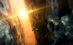 Картинка солнце, космос, свет, art, spaceship