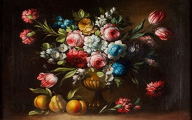 Картинка цветы, букет, ваза, фрукты, натюрморт