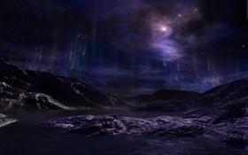 Картинка звёзды, небо, планета, сияние, поверхность