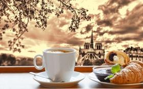 Обои Notre Dame, джем, croissant, завтрак, Paris, coffee, breakfast