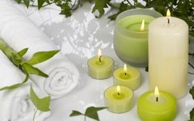 Обои полотенце, свечи, бамбук, Spa, спа, bamboo, candles