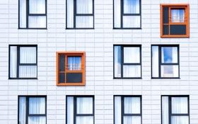 Картинка оранжевый, дом, стена, рама, окна, окно, windows