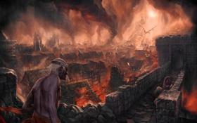 Картинка город, люди, пожар, огонь, дракон