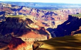 Обои горы, природа, скалы, тень, аризона, разноцветие