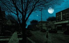 Картинка деревья, машины, ночь, луна, улица, мрак, дома
