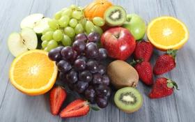 Обои ягоды, яблоки, апельсин, киви, клубника, виноград, фрукты