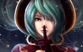 Обои девушка, лицо, арт, палец, League of Legends, Sona