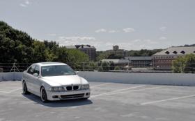 Обои BMW, БМВ, серебристая, ангельские глазки, бумер, E39, е39