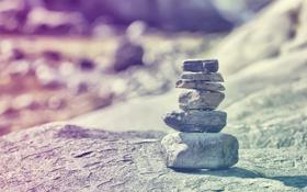 Обои камни, фото, обработка, пирамидка, камушки