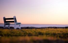Обои море, небо, пейзаж, скамья