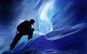 Обои чеовек, пещера, льды, льдины, альпинист, арт, холод