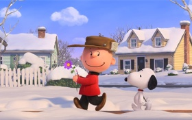 Обои puppy, dog, snow, tree, boy, cartoon, fence