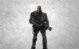 Обои оружие, робот, терминатор, киборг, красные глаза, terminator