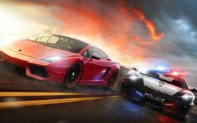 Картинка car, машина, полиция, погоня, арт, суперкар, supercar