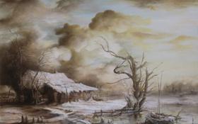 Обои зима, снег, пейзаж, тучи, дом, река, дерево