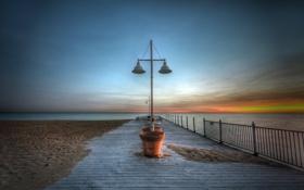 Картинка море, пляж, пейзаж, закат
