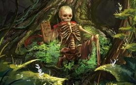 Обои красный, табличка, арт, кости, плащ, лес. скелет