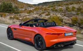 Обои Jaguar, sportcar, speed, orange, F-Type, V8 S