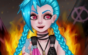 Обои арт, league of legends, jinx, Джинкс