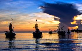 Картинка море, закат, лодки, рыбаки