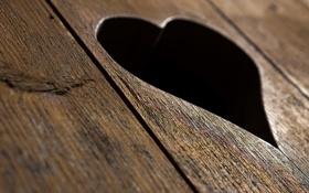 Обои макро, сердце, доска, вырез