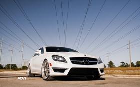 Картинка белый, небо, солнце, провода, Mercedes-Benz, седан, мерседес
