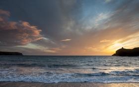 Картинка море, пляж, пейзаж, скалы, рассвет, бухта