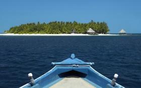 Обои лодка, остров, бунгало