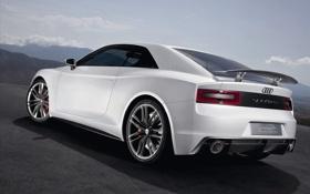 Картинка дорога, белая, Audi Quattro Concept